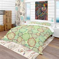 Designart 'Pattern with Tree Rings' Bohemian & Eclectic Bedding Set - Duvet Cover & Shams
