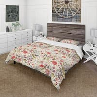 Designart 'Vintage Red Pink Flower and Leaves' Rustic Bedding Set - Duvet Cover & Shams