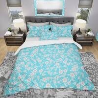 Designart 'Flower Pattern' Modern & Contemporary Bedding Set - Duvet Cover & Shams