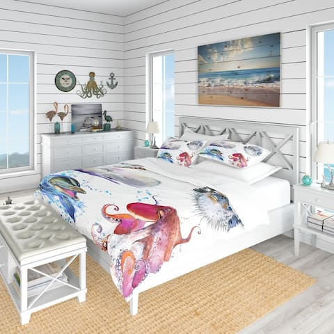 Designart 'Amazing Undersea Life Collage' Nautical & Coastal Bedding Set - Duvet Cover & Shams