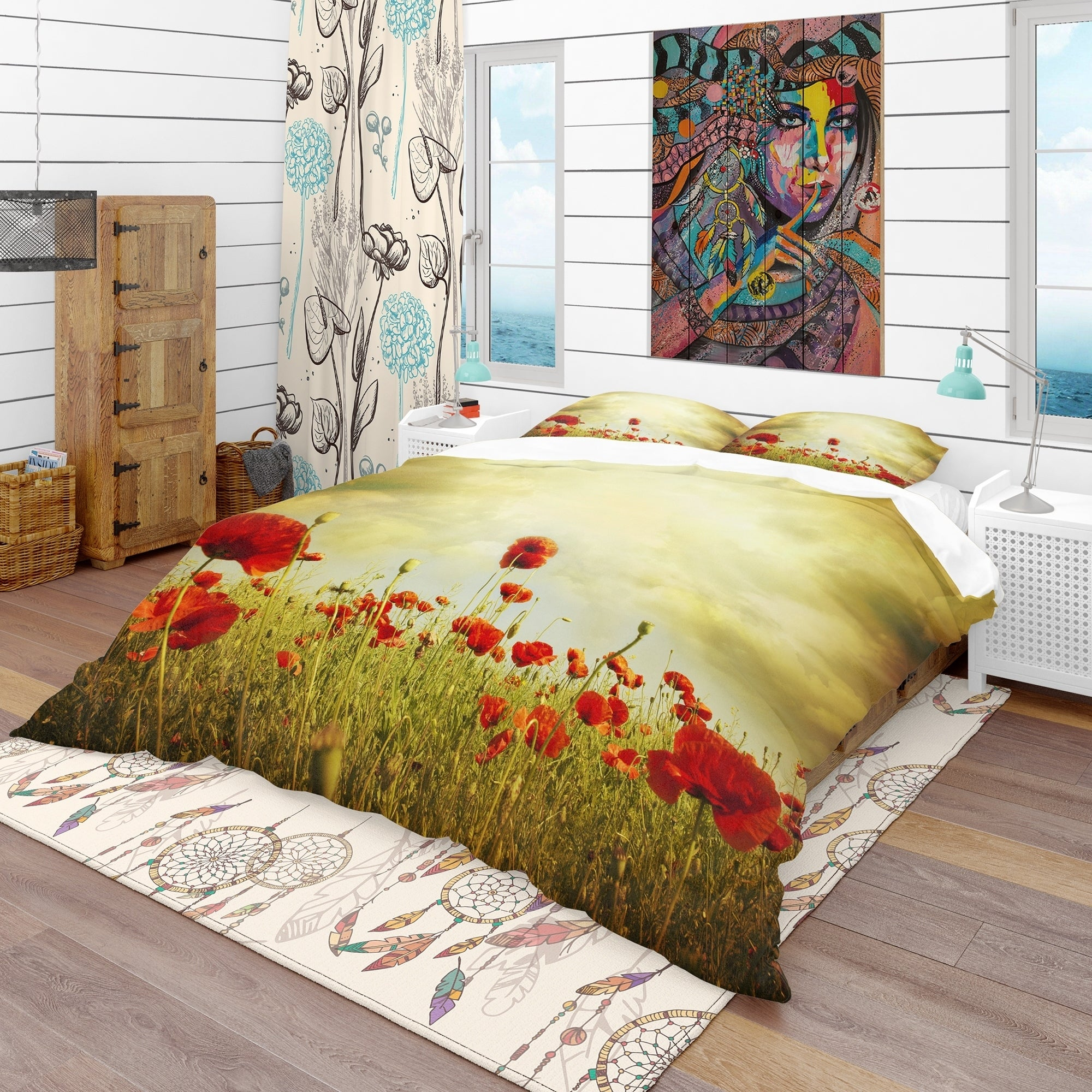 Luxury Poppy Yellow Duvet Cover Bedding Set With Pillow Cases Sointechile Cl