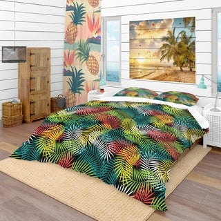 Designart - Tropical Pattern with Stylized Coconut Palm Leaves - Tropical Duvet Cover Set
