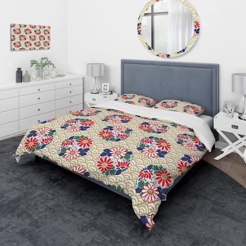 Designart 'Japanese Floral Pattern' Oriental Bedding Set - Duvet Cover & Shams