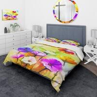 Designart 'Colorful Gerbera Flowers Painting' Traditional Bedding Set - Duvet Cover & Shams