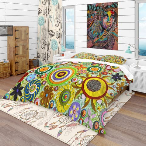 Designart 'Abstract Acrylic Painting on Canvas' Bohemian & Eclectic Bedding Set - Duvet Cover & Shams