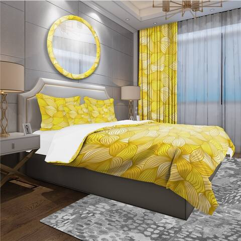 Designart 'Hand-Drawn Pattern with Waves' Bohemian & Eclectic Bedding Set - Duvet Cover & Shams