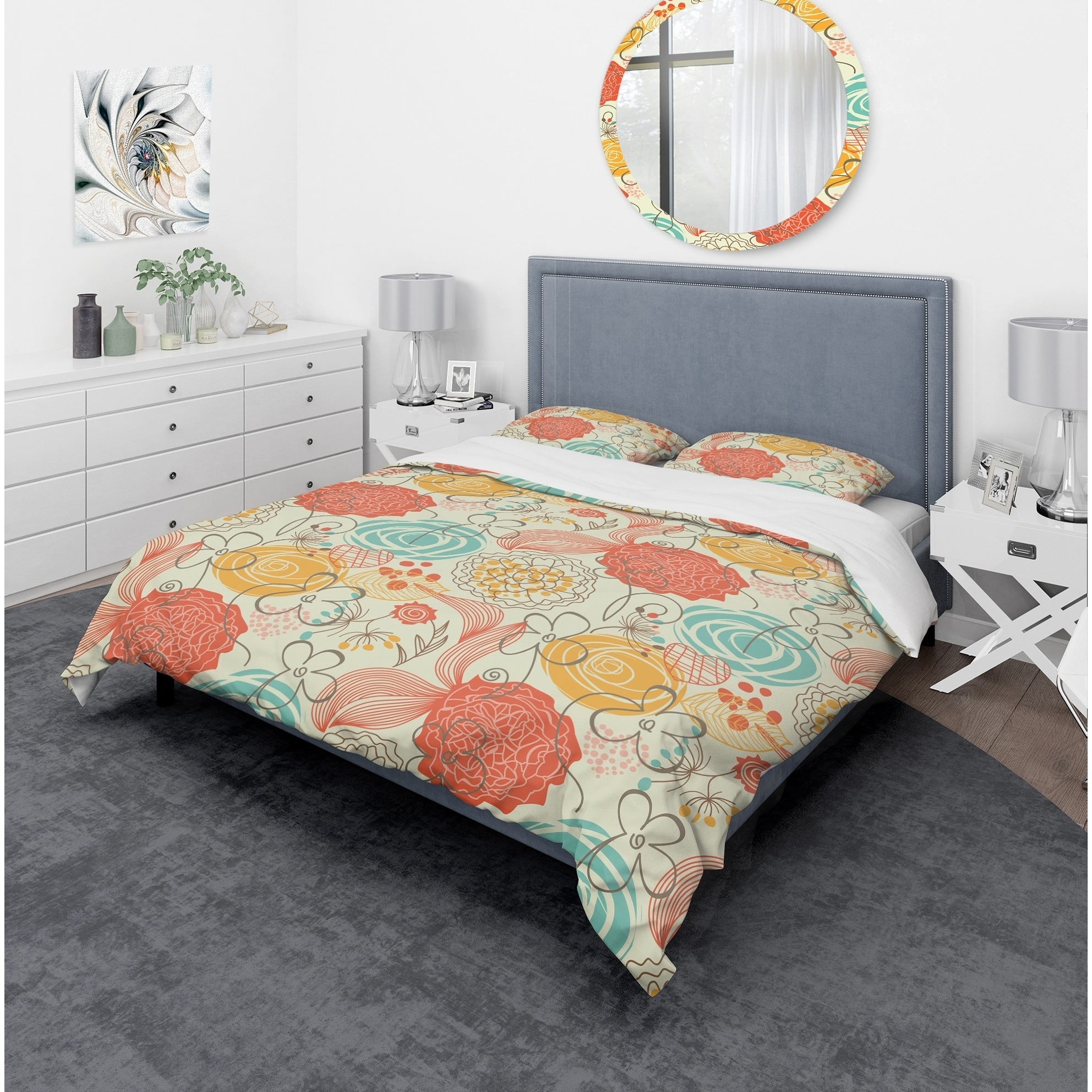 Designart Retro Floral Pattern Bohemian Eclectic Bedding Set Duvet Cover Shams Overstock 23506891 Twin Cover 1 Sham Comforter Not Included