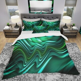 Designart - Emerald Energy Green Abstract - Modern & Contemporary Duvet Cover Set