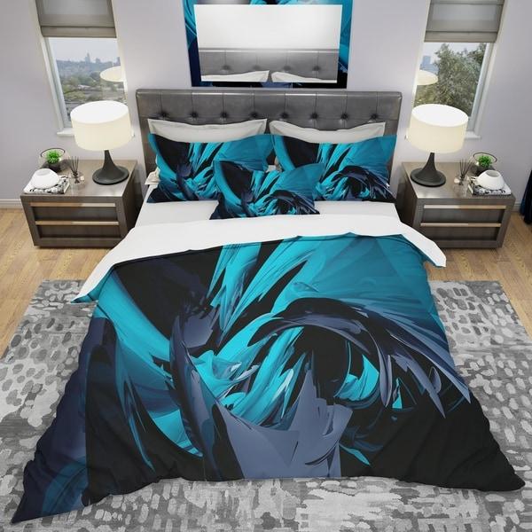 shop designart 39 cyan and grey mixer 39 modern contemporary bedding set duvet cover shams. Black Bedroom Furniture Sets. Home Design Ideas