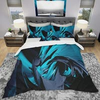 Designart 'Cyan and Grey Mixer' Modern & Contemporary Bedding Set - Duvet Cover & Shams