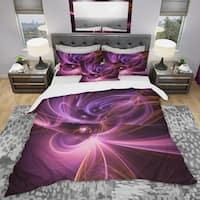 Designart 'Purple Fractal Light Art in Dark' Modern & Contemporary Bedding Set - Duvet Cover & Shams
