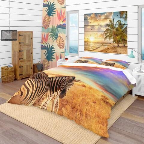 Designart 'Zebras in Bush Under Colorful Sky' Tropical Bedding Set - Duvet Cover & Shams