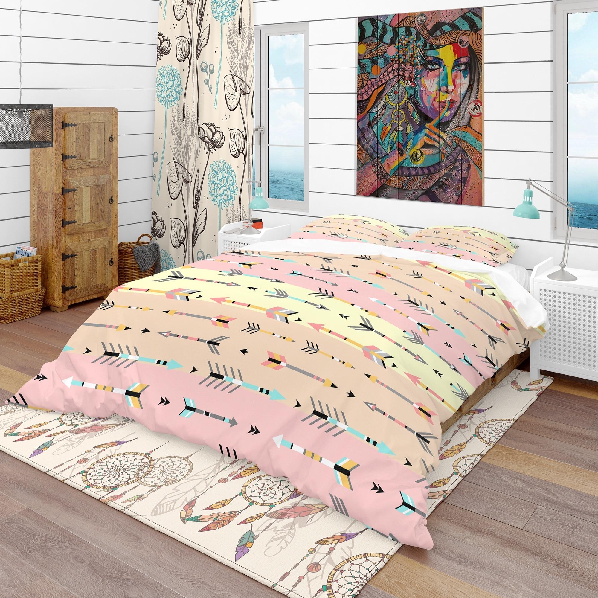 Designart Tribal Arrows Boho Pattern Southwestern Bedding Set Duvet Cover Shams On Sale Overstock 23506932