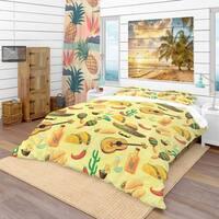 Designart 'Mexican Music Pattern' Tropical Bedding Set - Duvet Cover & Shams