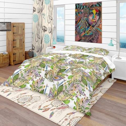 Designart 'Texture Watercolor Abstract Pattern' Bohemian & Eclectic Bedding Set - Duvet Cover & Shams