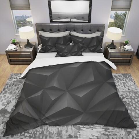 Designart 'Deep Black Geometric Crumpled' Modern Bedding Set - Duvet Cover & Shams