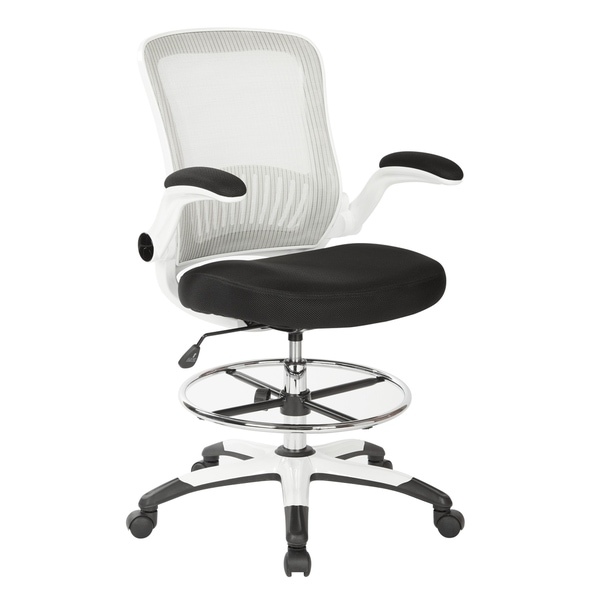 Work Smart Mesh Back Drafting Chair with Black Mesh Seat and Adjustable Footring