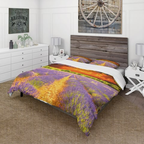 Designart 'Beautiful Lavender Field and Sunset' Cabin & Lodge Bedding Set - Duvet Cover & Shams