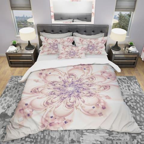 Designart 'Full Bloom Fractal Flower in Pink' Modern & Contemporary Bedding Set - Duvet Cover & Shams