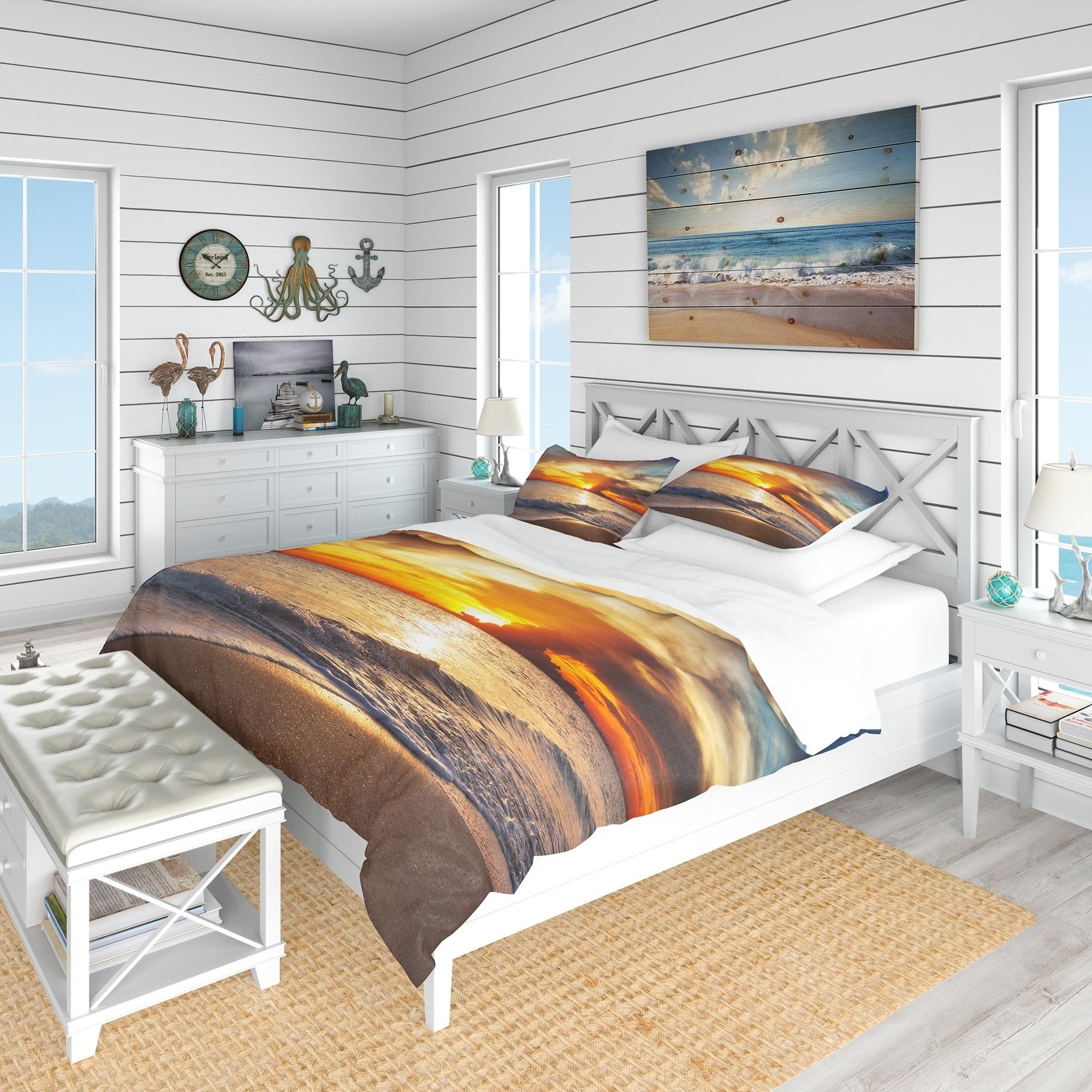 Designart Yellow Sunset Through Dark Clouds Beach Bedding Set Duvet Cover Shams On Sale Overstock 23506957