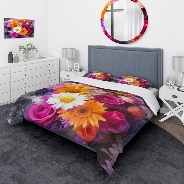Designart 'Bouquet of Flowers Watercolor' Traditional Bedding Set - Duvet Cover & Shams