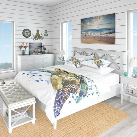 Designart 'Blue Sea Turtle Illustration' Nautical & Coastal Bedding Set - Duvet Cover & Shams