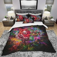 Designart 'Colorful Tiger Head with Half Skull' Modern & Contemporary Bedding Set - Duvet Cover & Shams