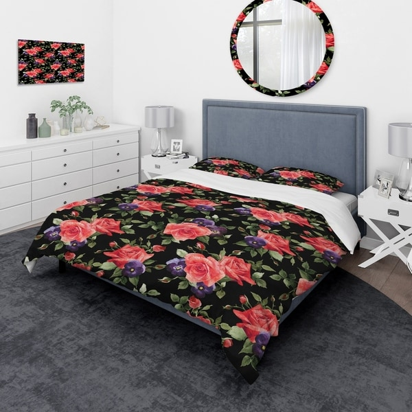 Designart 'Pansy Flowers Rose Patterns' Modern & Contemporary Bedding Set - Duvet Cover & Shams