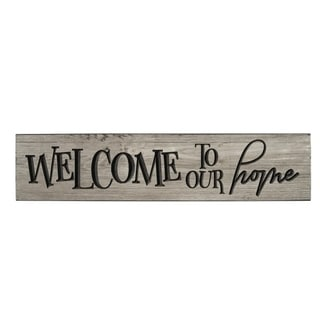 Rustic Wall Sign - Welcome to Our Home - Weathered Gray