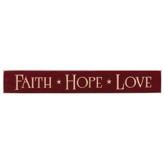 Rustic Wall Sign - Faith Hope Love - red delicious