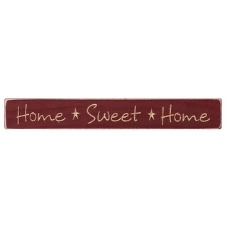 Rustic Shelf Sitter Sign - Home Sweet Home - red delicious