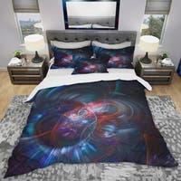 Designart 'Light Blue Fractal Flower in Dark' Modern & Contemporary Bedding Set - Duvet Cover & Shams