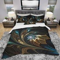 Designart 'Brown Blue Fractal Flower in Black' Modern & Contemporary Bedding Set - Duvet Cover & Shams