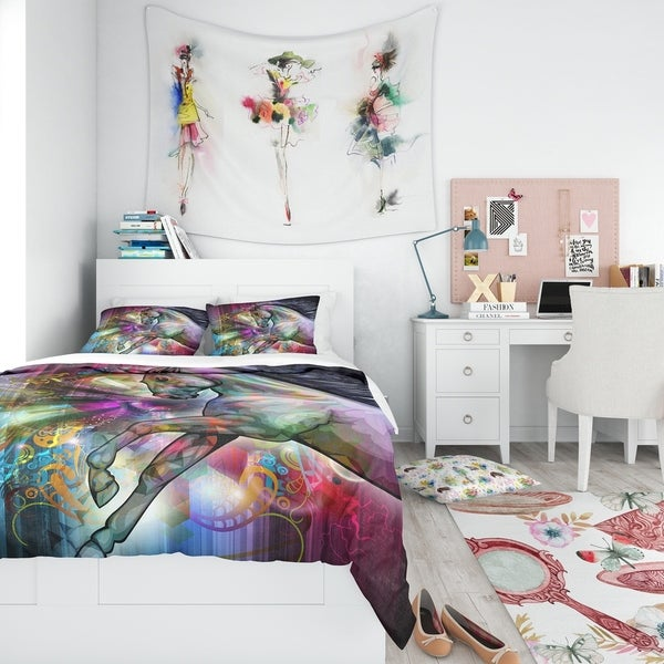 Designart 'Horse Over Colorful Abstract Image' Modern & Contemporary Bedding Set - Duvet Cover & Shams. Opens flyout.