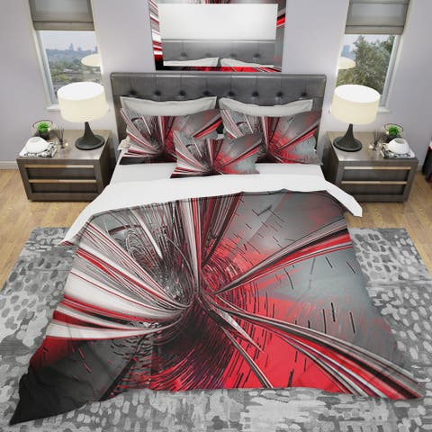 Designart 'Fractal 3D Deep into Middle' Modern & Contemporary Bedding Set - Duvet Cover & Shams