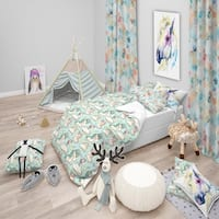 Designart 'Pattern with Cute Unicorns and Clouds' Modern kids Bedding Set - Duvet Cover & Shams