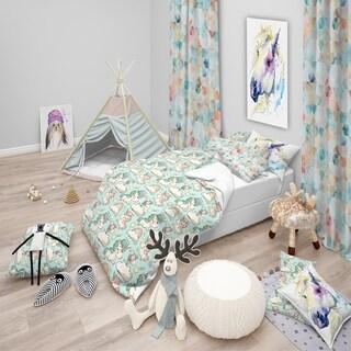 Designart - Pattern with Cute Unicorns and Clouds - Modern kids Duvet Cover Set