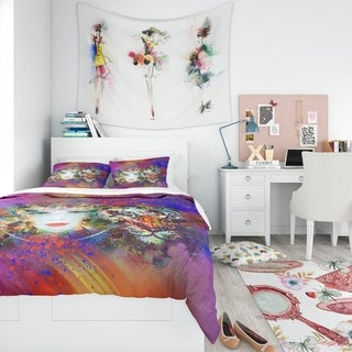 Designart - Colorful Tiger and Woman Face - Modern Teen Duvet Cover Set