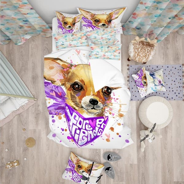 Designart Cute Puppy Dog With Neck Shawl Modern Contemporary Bedding Set Duvet Cover Shams On Sale Overstock 23507065