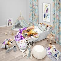 Designart 'Cute Puppy Dog with Neck Shawl' Modern & Contemporary Bedding Set - Duvet Cover & Shams