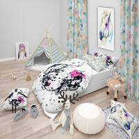 Designart 'Funny Puppy with Pink Hair Band' Modern & Contemporary Bedding Set - Duvet Cover & Shams