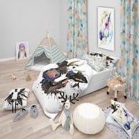 Designart 'Beautiful Cow Watercolor Graphic' Modern & Contemporary Bedding Set - Duvet Cover & Shams