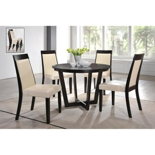 Indoor Black and White Modern 5pc Dining Set with a Round Solid Wood Table and 4 Stackable Upholstered Dining Chairs