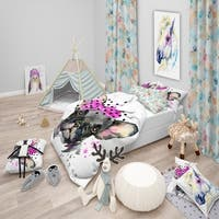 Designart 'Serious French Bulldog Watercolor' Modern & Contemporary Bedding Set - Duvet Cover & Shams