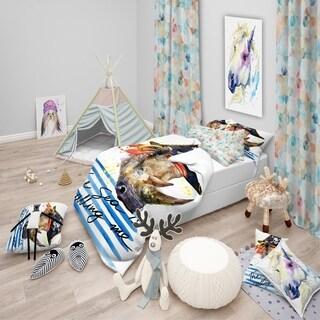 Designart - Pirate Animal in Hat The Sea Is Calling Me - Modern kids Duvet Cover Set