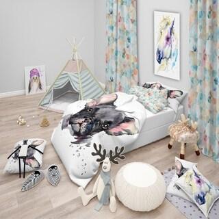Designart 'Cute Watercolor Puppy Dog' Modern & Contemporary Bedding Set - Duvet Cover & Shams