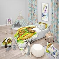 Designart 'Funny Dog Inside Sandwich' Modern & Contemporary Bedding Set - Duvet Cover & Shams