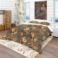 Designart 'Abstract Pattern with Marine Inhabitants' Bohemian & Eclectic Bedding Set - Duvet Cover & Shams