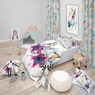 Designart - Cute Kitten with Blue Stars - Modern & Contemporary Duvet Cover Set