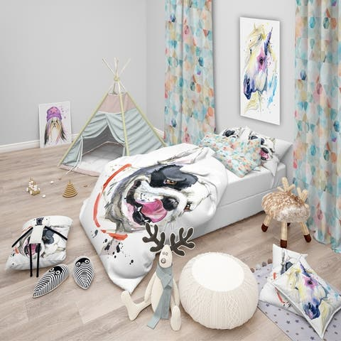 Designart 'Kiss French Bulldog Illustration' Modern & Contemporary Bedding Set - Duvet Cover & Shams